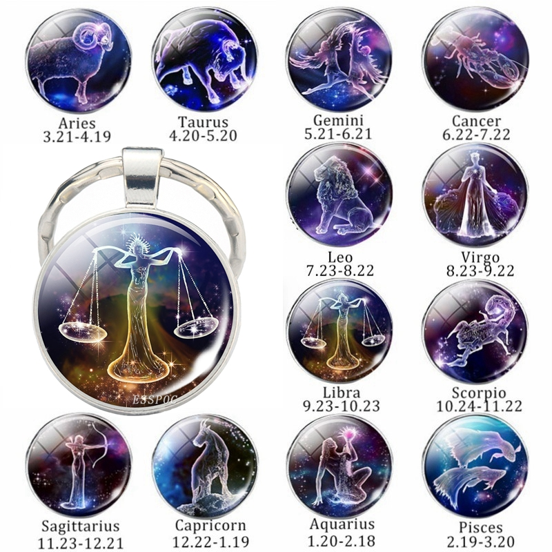 Zodiac Keychain 12 Signs Constellations Glass Cabochon Jewelry Birthday Gifts to Best Friends Men Women