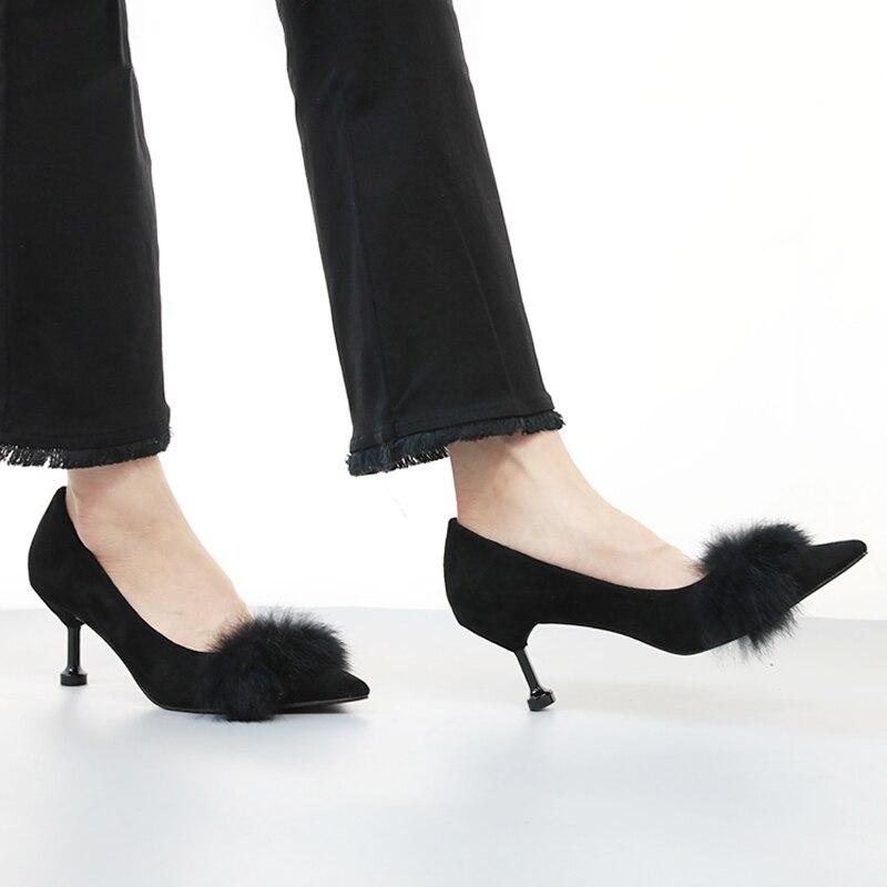 Pointu Hauts Talons Daim Pompe Peu Femmes kaki De Sandalias Noir Lapin Fourrure Diapositives Bout Talon Mode Stilleto Sandales Dames Profonde Des En Mujer Chaussures xSYwXHqFq