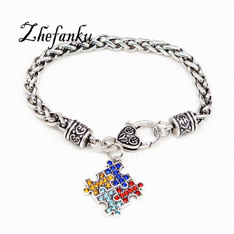 Us 1 29 17 Off Antique Silver Coor Hope Multi Colored Crystal Puzzle Pendant Claw Bracelet In Charm Bracelets From Jewelry Accessories On