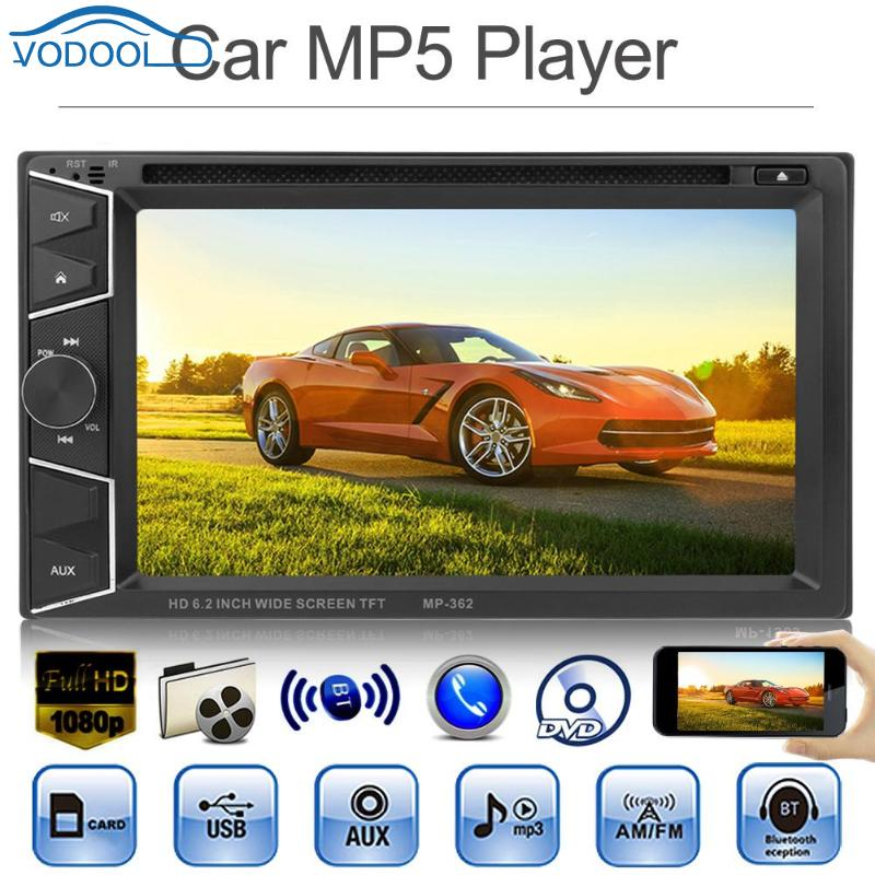VODOOL 6 2in TFT Screen Bluetooth In dash Car Stereo MP5 Player AUX FM Radio DVD