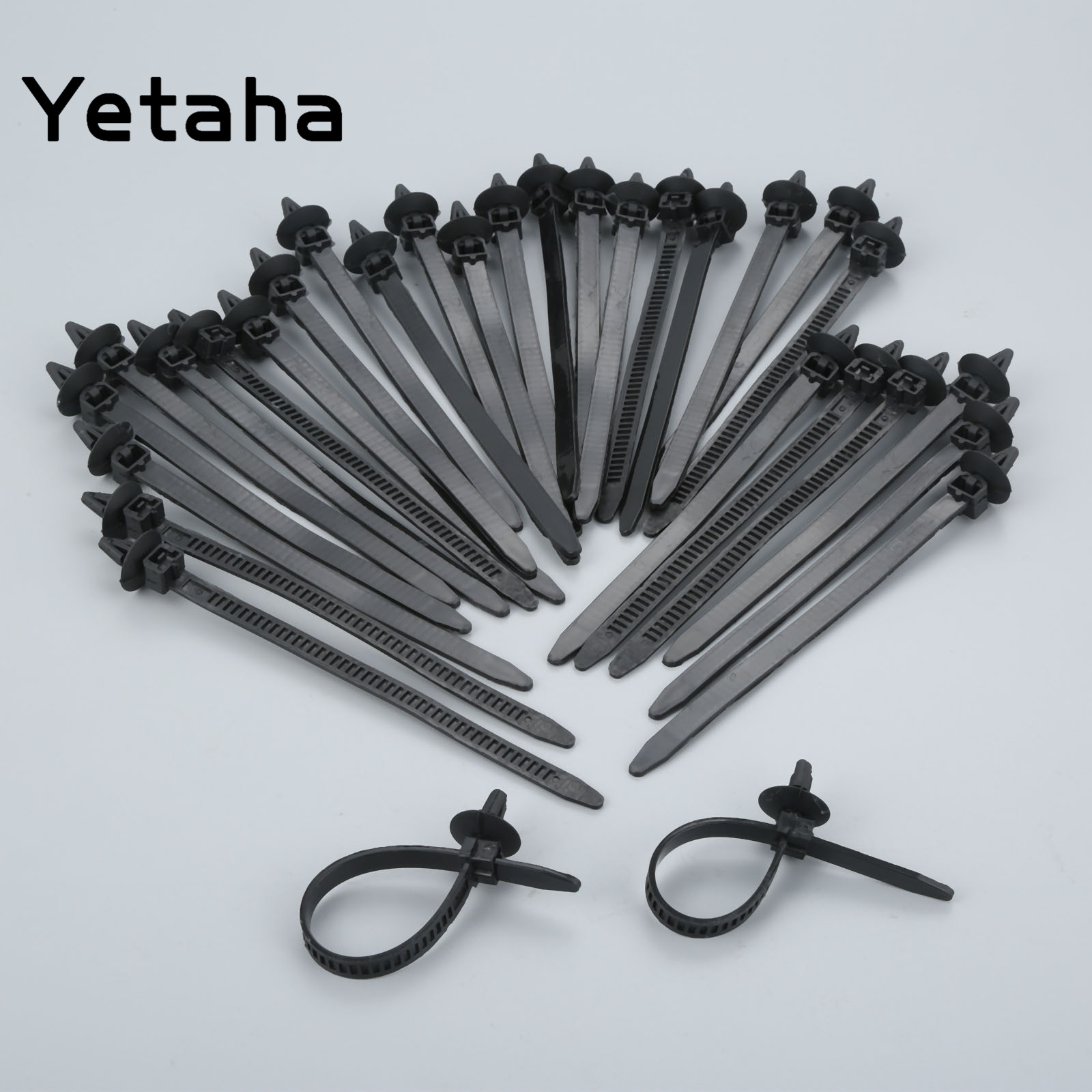 yetaha 30 pcs nylon black car auto cable strap push mount wire tie retainer clip clamp [ 1600 x 1600 Pixel ]