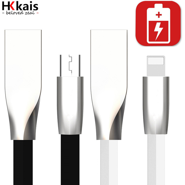 1M/1.5M/2M USB Cable,HKkais 3D Zinc Alloy  Micro USB Fast Charging Data Sync Cable for iPhone 7 6 6s Plus 5s iPad Samsung LG HTC