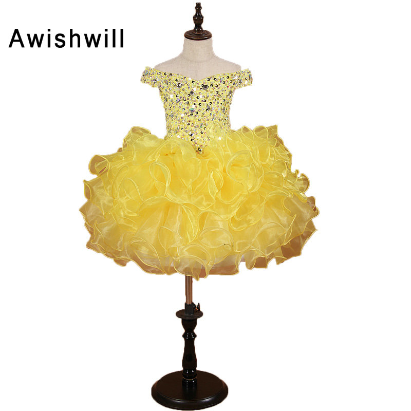 2019 Girls Pageant Dresses Ball Gown Organza Off The Shoulder Knee-Length Ruffles Beaded Pretty Flower Girl Dresses Yellow