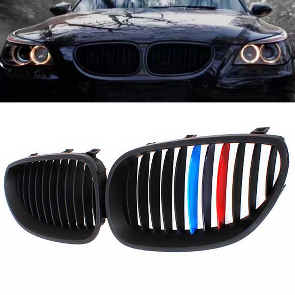 Pasangan Gloss/Matte Hitam Mobil Depan Olahraga Grill Ginjal Kisi-kisi Panggangan untuk BMW 5 Series M5 E60/E61 2003 2004 2005 2006 2007 2008 2009