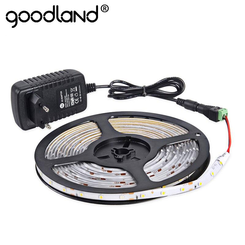 Goodland LED Light Strip Étanche SMD3528 Seule Couleur 300 Led 5 m Flexible Bande Lumière DC12V Alimentation 2A Haute qualité de L'UE/NOUS
