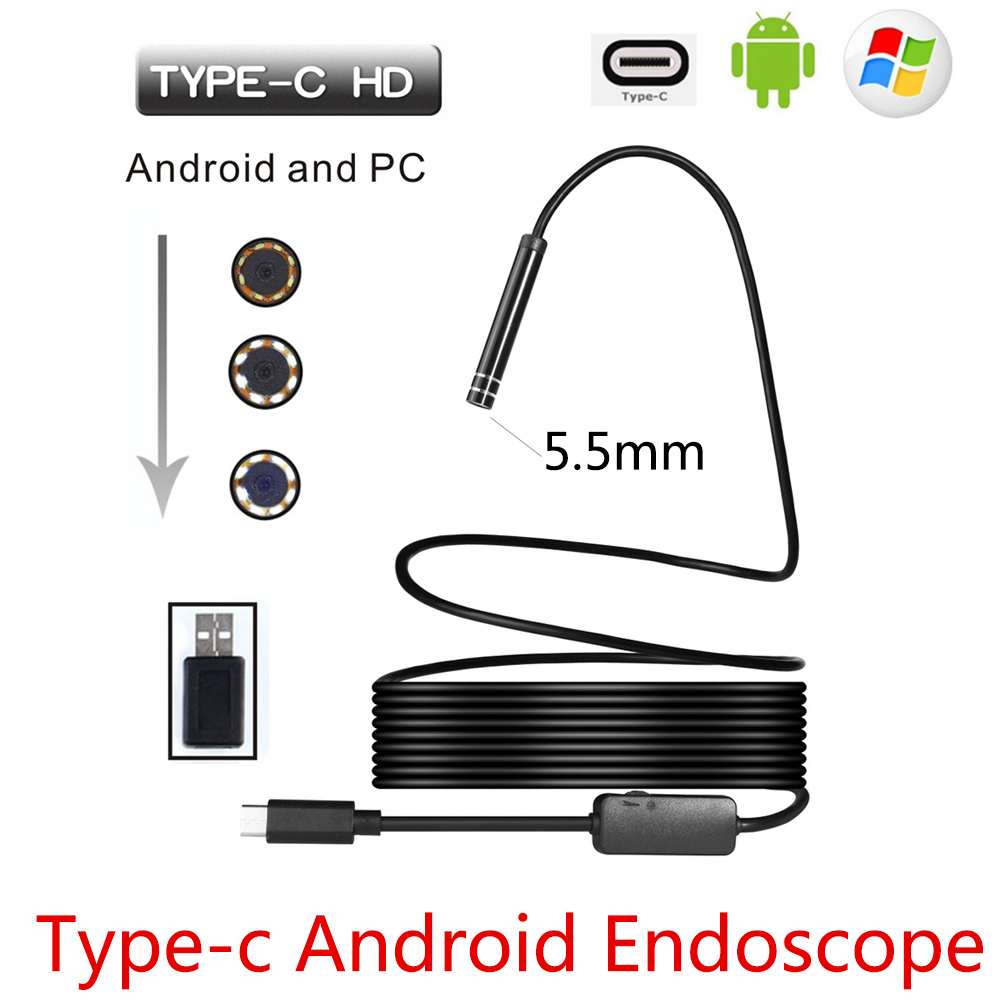 Endoscope Camera | 5.5mm USB Type C Android Endoscope Camera Flexible Snake USB Type C Hard Wire 1M 3M 5M 7M 10M Cable Inspection Camera Borescope
