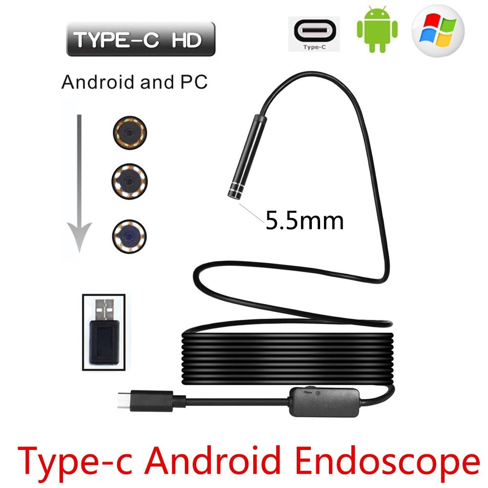 5.5mm USB Type-C Android Fotocamera Endoscopio Flessibile Snake USB Tipo C Filo rigido 1 M 3 M 5 M 7 M 10 M Cavo Macchina Fotografica di Controllo Periscopio