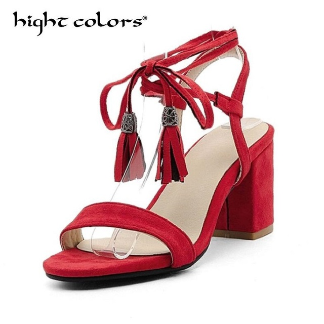 996a29232d9 Fringe High Heel Sandals Women s Shoes Summer Cross Straps Charm Slingbacks  Fashion Ladies Sandles Woman Size 35-43 Black Red
