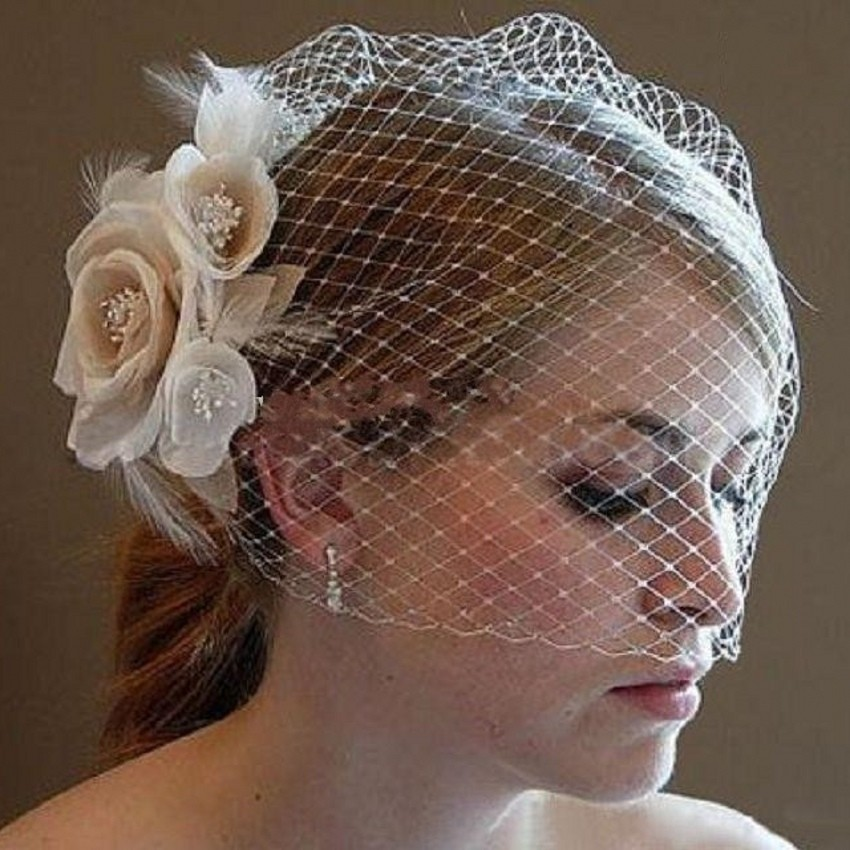 Hot Sale 2019 Wedding Birdcage Veils Champagne Flowers Feather Birdcage Veil Bridal Wedding Hair Pieces Bridal Accessories