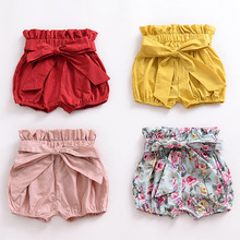 New Summer Baby PP Pants Shorts for Girls Boys Plaid Clothes Infant Toddler Children Floral Princ Bow 1-5Y KIDS