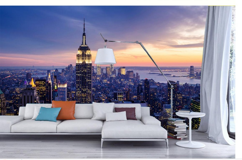 Papel Parede Mural Wallpaper New York Landscape 3d Wallpaper Tv