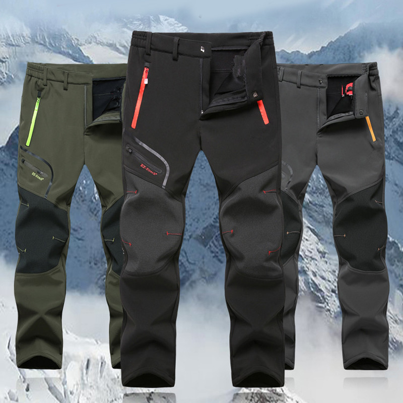 ZOGAA Outdoor Men's Joggers Winter Thicken Warm Windproof Sports Pants Waterproof Trousers Joggers For Hiking Climbing L-6XL