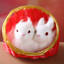 a pair of small simulation rabbit toys polyethylene&furs rabbit models in red basket gift about 12x5x11cm