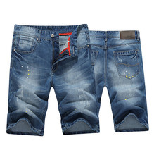 2015 Hot Men Jeans Shorts Vintage Denim Summer Straight Casual Shorts Holed Trousers For Men Navy Color 28-36