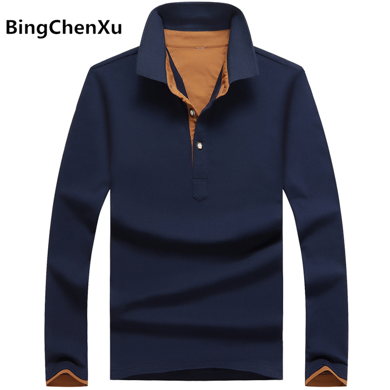 Bingchenxu Brand   Polos   Mens Solid   Polo   Shirts 100% Cotton Long Sleeve Camisas   Polos   Homme Slim Fit Casual Man   Polo   Shirt 4XL 467