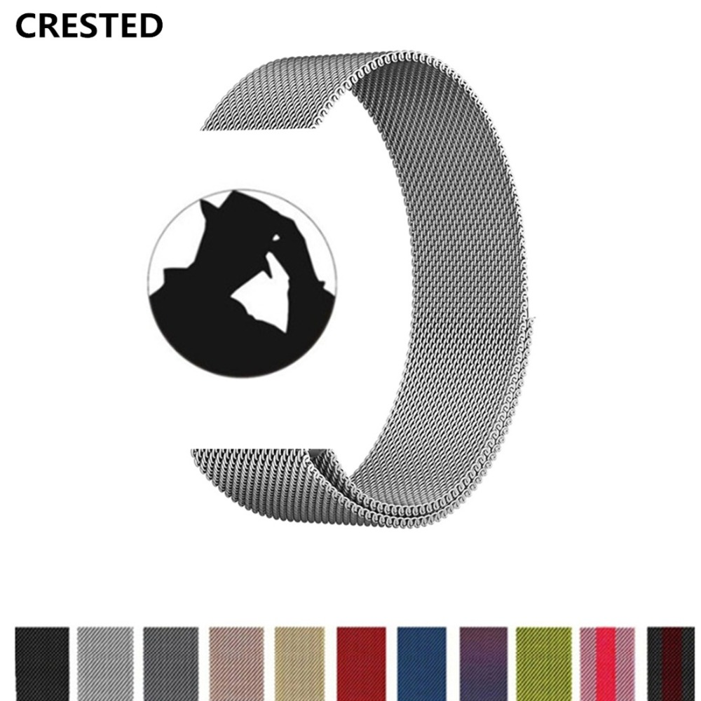 CRESTED Milanese Loop For Apple Watch 42mm/38mm iwatch band strap series 3 2 1 Stainless Steel wrist bands Link Bracelet belt