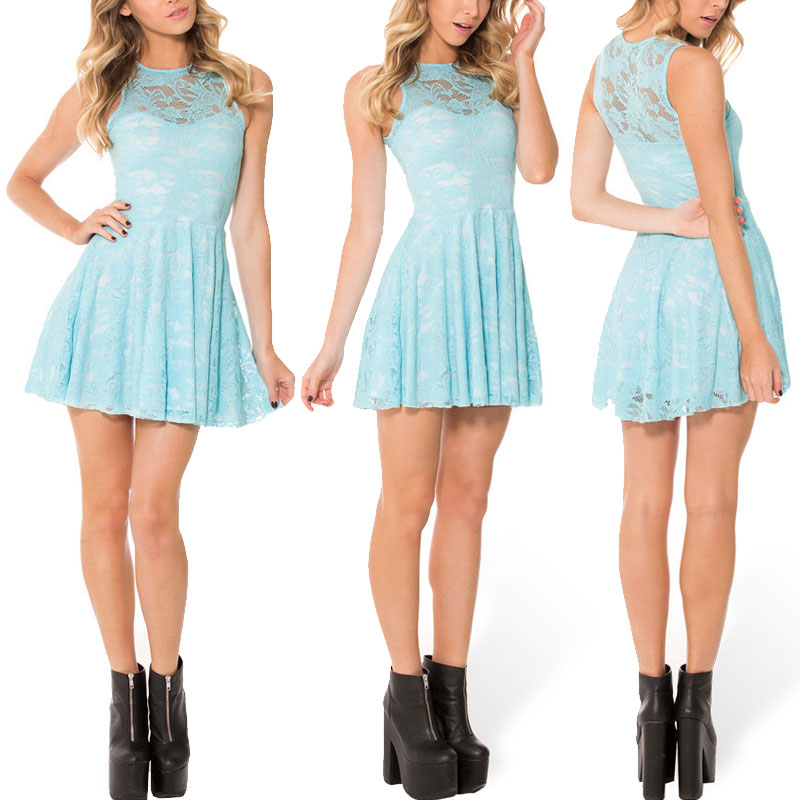 Women Dress Reversible Lace Skater Dress Casual Party Dresses 2015 Black Milk Blue Pleated ...