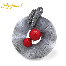 Ajojewel Antique Silver Plated Hat Shaped CZ Vintage Brooches For Women Red Simulated Pearl Jewelry Gift Party  / Festival