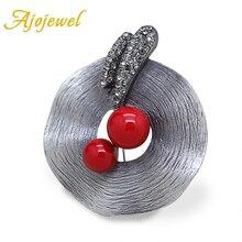 Ajojewel antiguo Color plata sombrero en forma de CZ broches Vintage alfileres para mujeres rojo imitación perla joyería regalo para fiesta