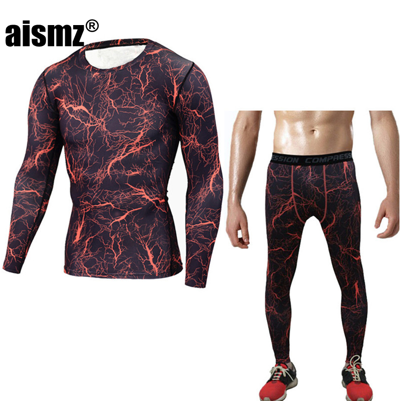 Aismz MMA rashgard union suit Mens T-Shirt + tights for men Set Long Sleeve T-Shirt Leggings Fitness Clothing ...