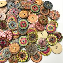 100 шт./пакет круглый ассорти с цветочным принтом деревянные декоративные пуговицы для Швейное Ремесло «сделай сам» Цвет в случайном порядке