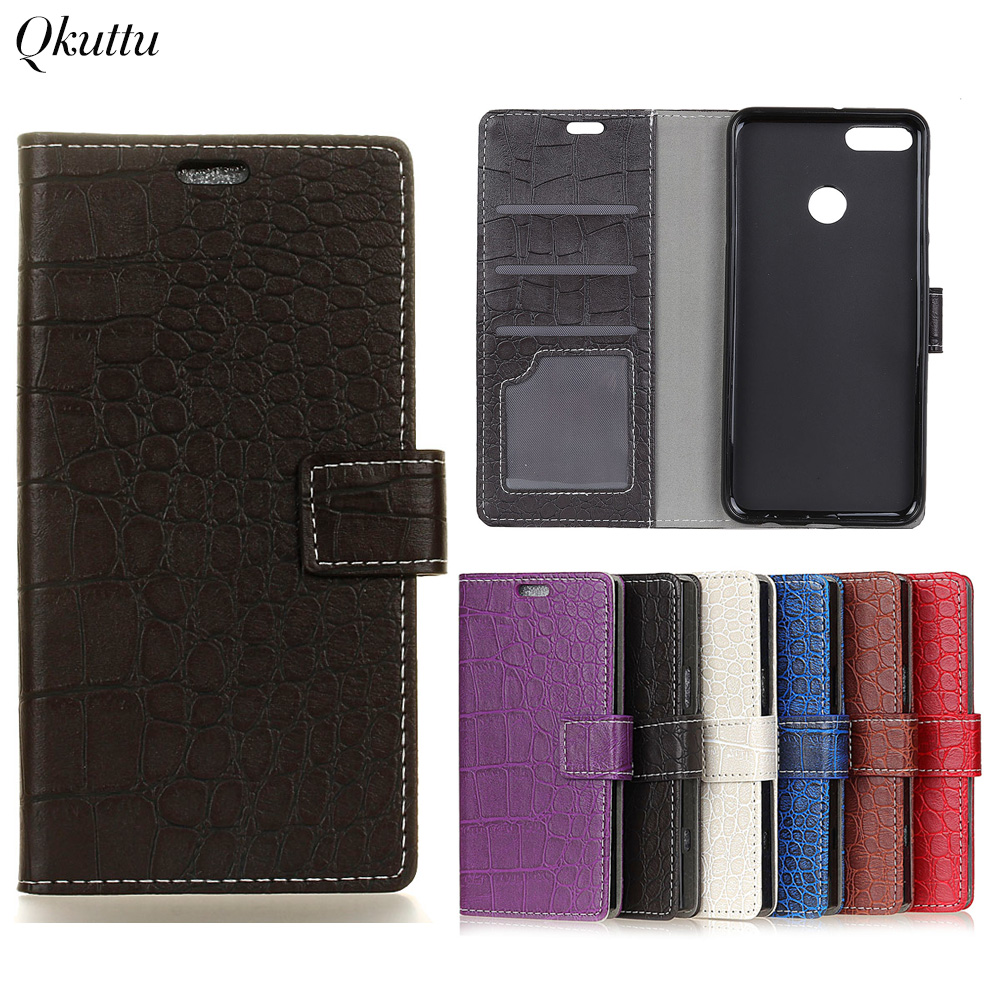 Qkuttu Vintage Crocodile PU Leather Cover for Huawei Y9 2018 Enjoy 8 Plus Silicone Case Wallet Card Slot Phone Acessories