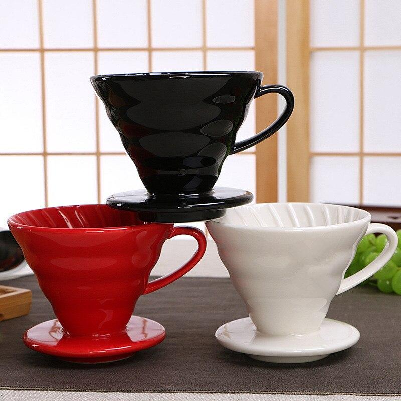 Filtre à café en céramique V60 Style café filtre à goutte tasse permanente verser sur la cafetière avec support séparé Pour 1-4 tasses