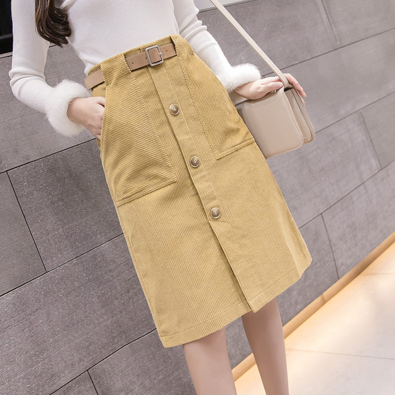 ac3d705aa62c5 2018 Streetwear Corduroy Skirts Womens Autumn Winter High Waist Button Midi  Skirt Belted Plus Size Harajuku Skirt jupe femme-in Skirts from Women s  Clothing ...