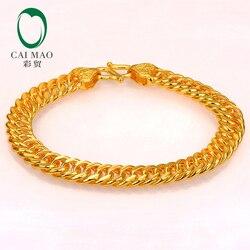 CAIMAO 24 18K 純粋な 999 ゴールドリンクブレスレット本物のメンズデザインブティック罰金結婚式の婚約ギフトクラシックパーティー