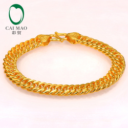 CAIMAO 24K Pure 999 Gold Link Bracelet Genuine Mens Design Boutique Fine Wedding Engagement Gift Trendy Classic Party