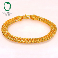 CAIMAO 24K Pure 999 Gold Link Bracelet Genuine Mens Design Boutique Fine Wedding Engagement Gift Trendy Classic Party