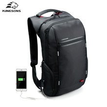 "Kingsons 15 ""17"" Laptop Backpack schoolBag Externo Anti roubo de Notebook Sacos Do Computador para Os Homens As Mulheres bagpack(China)"