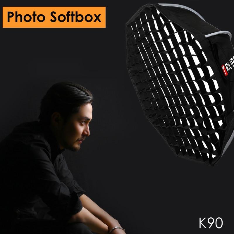 Triopo 90 cm Photo Portabe Softbox w/Honeycomb Grid K90 Bowens Mont Octogone Parapluie En Plein Air Doux Boîte pour Godox jinbei Stroboscopique
