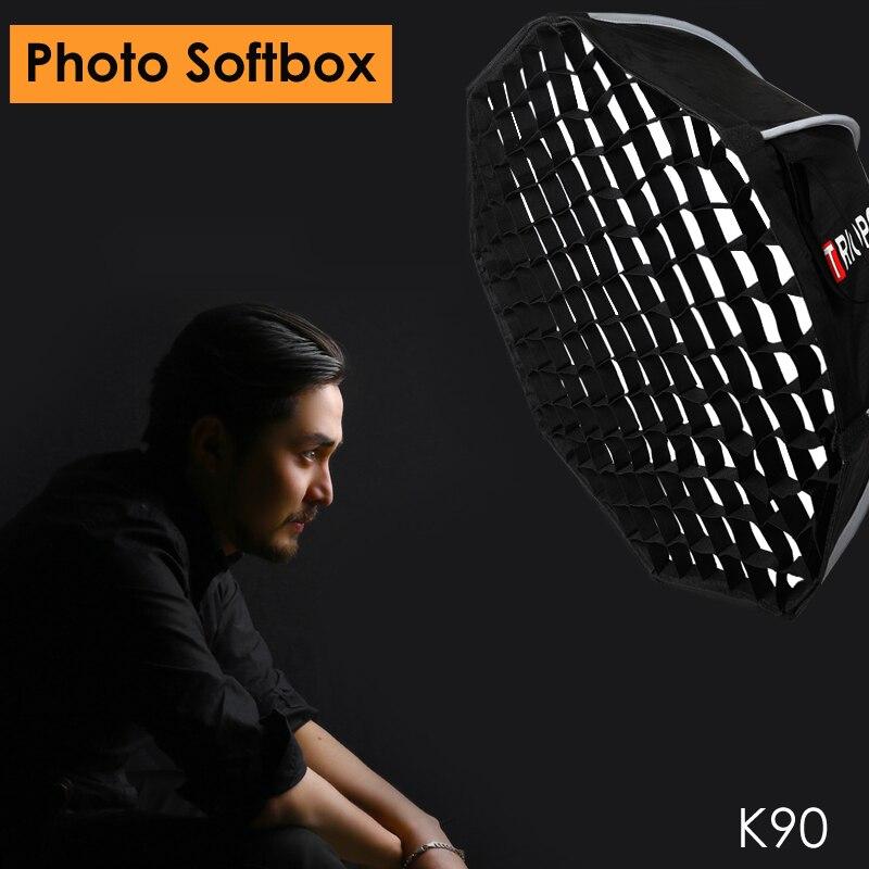 Triopo 90 cm foto portable Softbox w/de nido de abeja red K90 Bowen montaje Octágono paraguas al aire libre caja suave para Godox jinbei luz estroboscópica