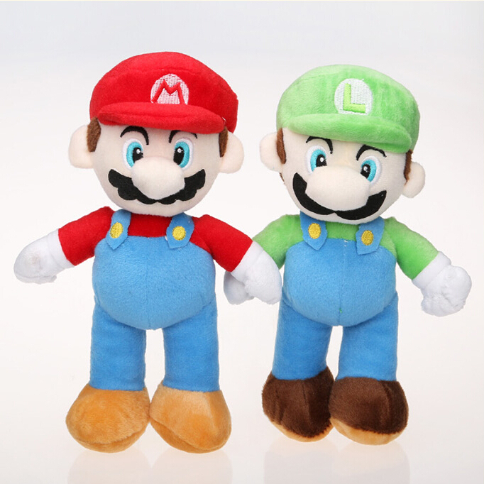2Pcs/lot 7.920cm Standing Super Mario Plush Toy Cartoon Anime Mario Brothers Plush Toys Dolls High Quality Kids toy