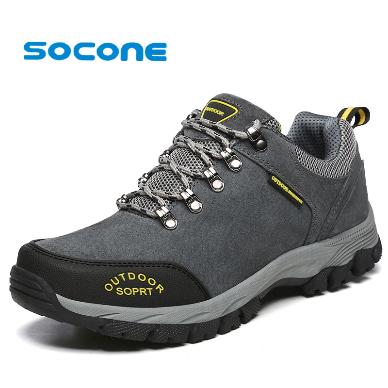 Socone Outdoor Big Size 15 Mens Hiking Shoes Winter Suede