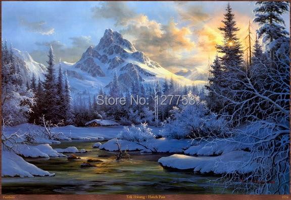 Livraison Gratuite Moderne Peinture Murale Neige Montagne Paysage