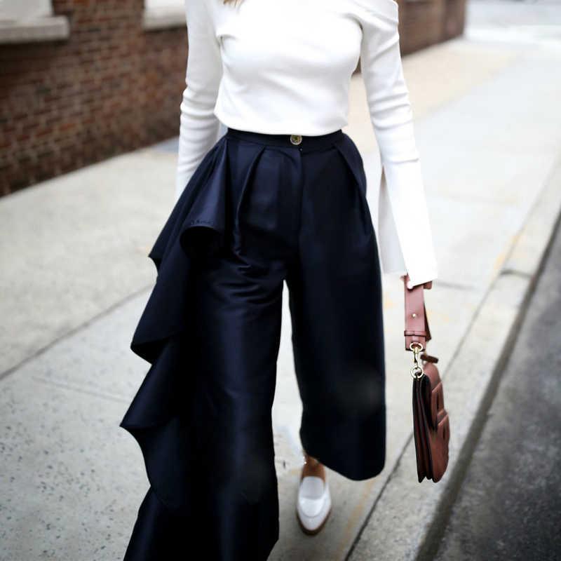 TWOTWINSTYLE, женские Лоскутные штаны с оборками, высокая талия, большие размеры, широкие брюки, женские, 2019, Весенняя мода, OL одежда