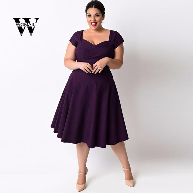 0578e70df55a 2018 New Plus Size Women Casual Short Sleeve Formal Cocktail Solid Swing Dress  summer Amazing hot