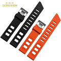 Silicone watchband Rubber strap wristband bracelet sport wristwatches band waterproof  20mm Orange black color accessories belt