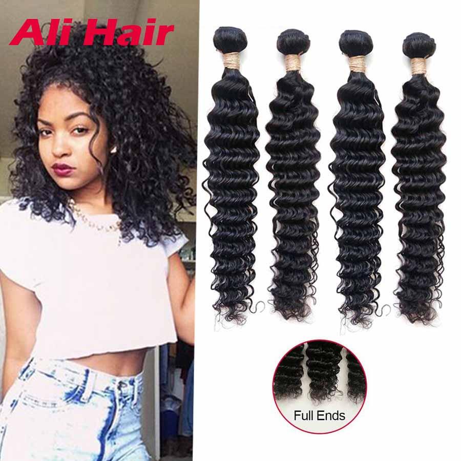 Grade 8A 4 Bundle Deals Deep Wave 14 24 Inch Raw Virgin Cheap Brazilian Hair  4 Bundles Curly 100 Human Hair Sew In Extensions 96e967a79338