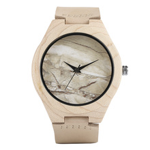 Albino Style Bamboo Wristwatches Unisex Marble Pattern Face Handmade Cool Sport Clock Men Women 2017 Designer