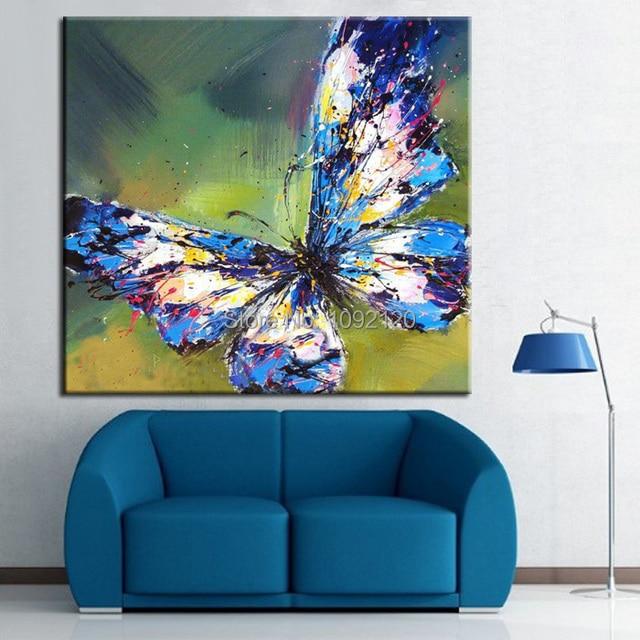 Hot Tangan Dicat Hewan Gambar Pada Kanvas Abstrak Kupu Lukisan Untuk Ruang Tamu Dinding