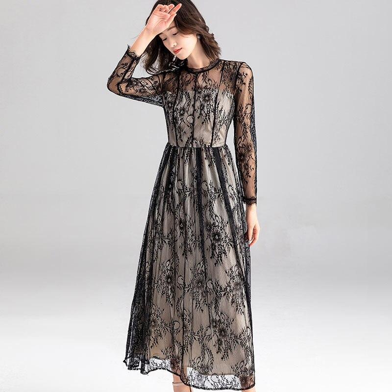 Robe de soirée en dentelle noire PIXY femmes élégantes rétro dames robes à manches longues za * a vestidos piste sukienka col roulé robe transparente