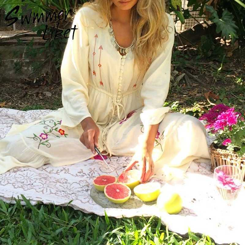 9bb64502dfb9 ... Embroidery white caftan beach dress V-neck cover-ups Long tunic women's  Summer beach ...