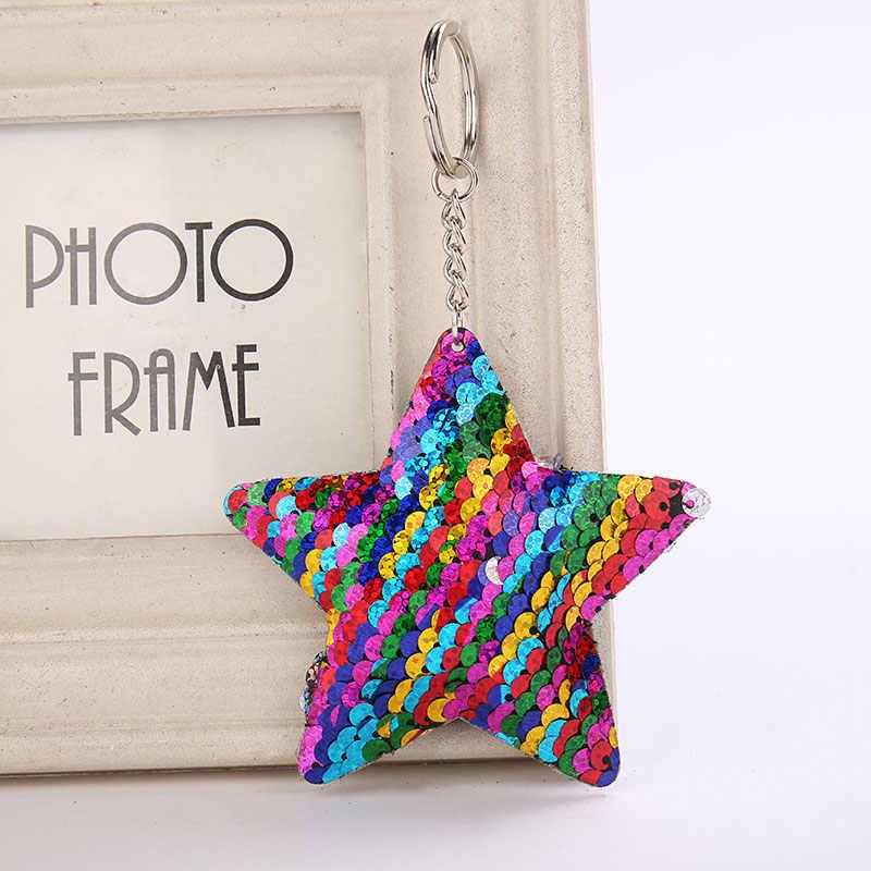 Unicórnio Estrela Gato Chaveiro Pompom Glitter Lantejoulas Saco de Presentes Chaveiro para As Mulheres Carro Llaveros Mujer Acessórios Chave Anel