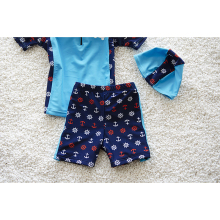Boys Swimming Trunks + Short Sleeve Top + Swimming Cap – 3pcs Set