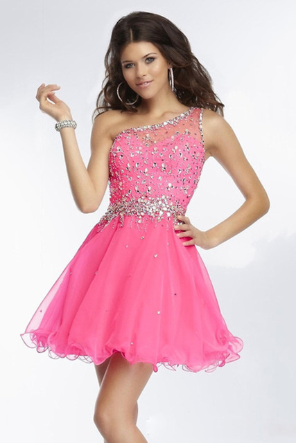 a76e23c8525 One Shoulder Sleeveless Sparkly Hot Pink Stylish Cocktail Dresses Vestido  De Festa Curto Vestidos De Coctel Gece Elbisesi