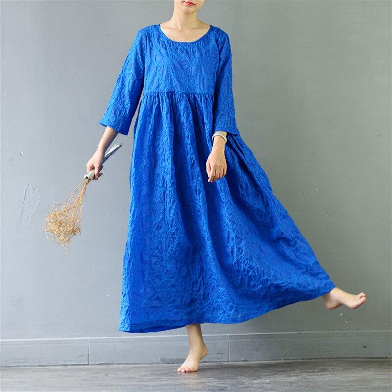 SCUWLINEN Vestidos 2019 Spring Summer Dresses Vintage High Waist Three Quarter Long Cotton Dress Women A
