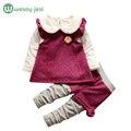 3 pcs Conjuntos de Roupas Meninas 2016 Arco de Flores de inverno de malha de Manga Comprida conjunto de roupas meninas outfits crianças roupas para crianças boutique